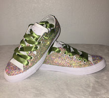 All Star Mono White Converse With Crystal AB Diamonds With Olive Ribbon Laces