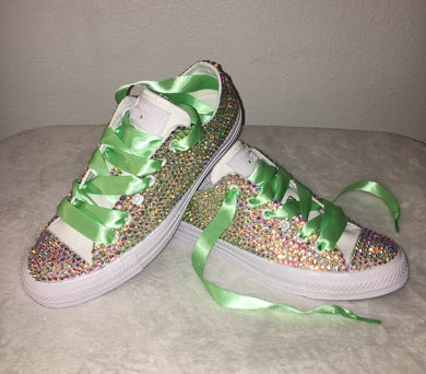 All Star Mono White Converse With Crystal AB Diamonds With Mint Ribbon Laces