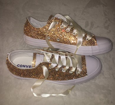 All Star Mono White Converse With Champagne Gold Diamonds With Ivory Ribbon Laces