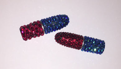MAC Bedazzled Crystal Lipstick In Sapphire Blue AB & Siam Red Crystals