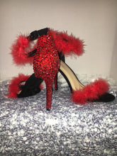 HollyWood Glam Red Feather & Siam Red Swarovski Crystal Heels