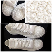 All White Mono Converse Classic Pearls & White Ribbon Laces