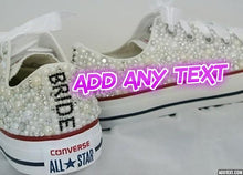 All Star Red High Top Style Converse With Pearls Diamonds & Ribbon Laces