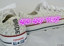 All Star Mono White Converse With Light Rose Pink & Moonstone With Pink Ribbon Laces