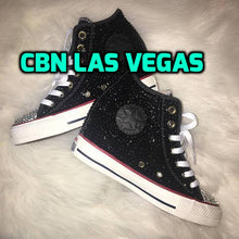 All Star Original High Top Wedges Style Black Converse With Diamonds & Ribbon Laces,