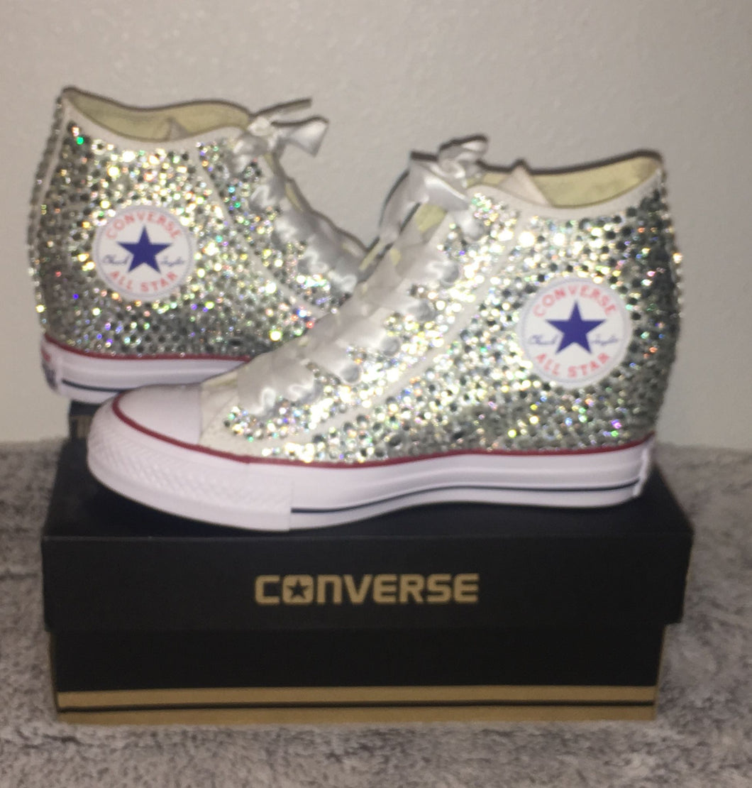 26669a5091f2 ... All Star Original Hi Top Wedges Style Converse With Diamonds   White Ribbon  Laces ...