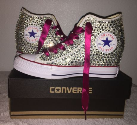 All Star Original High Top Wedges Style Converse With Diamonds & Burgundy Ribbon Laces