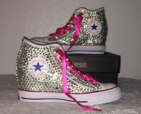 689d2adbdb22 ... All Star Original Hi Top Wedges Style Converse With Diamonds   Pink  Ribbon Laces ...