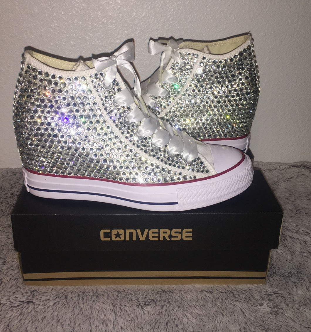 6f62b4c5c557 ... All Star Original Hi Top Wedges Style Converse With Diamonds   White Ribbon  Laces ...
