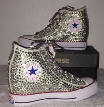 All Star Original Hi Top Wedges Style Converse With Diamonds & Silver Ribbon Laces