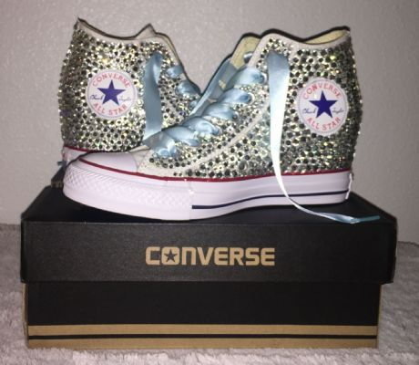 478cbb4f379c ... All Star Original Hi Top Wedges Style Converse With Diamonds   Light  Blue Ribbon Laces ...