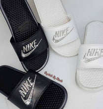 Bedazzled Crystal Nike Slides In White Or Black