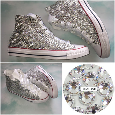 All Star Mono White High Top Style Converse With Crystal Diamonds & Ribbon Laces