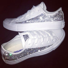 All Star Mono White Converse With Swarovski Crystals & White Ribbon Laces