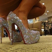 Crystal Diamonds Heels Red Soles