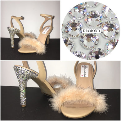 HollyWood Glam Nude Feather & Swarovski Heels