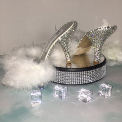 HollyWood Glam White Feather & Swarovski Heels