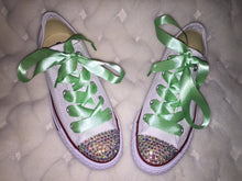 Dainty All Star Converse With AB Crystal & Mint Green Ribbon Laces