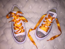 All Star Converse With AB Crystal & Light Orange Ribbon Laces