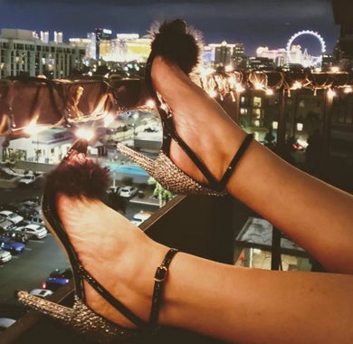 HollyWood Glam Black Feather & Swarovski Crystal Heels