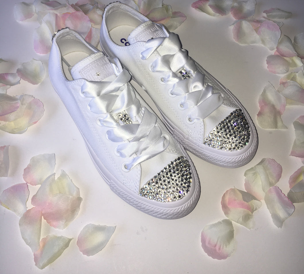 All Star Mono Converse With Crystals & White Ribbon Laces