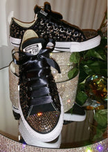 All Star Black Converse With Pearls Black Diamonds & Black Ribbon Laces