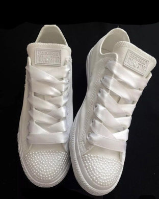 All Star Diamonds X Pearls Converse – Crystals By Nicole X Luxury ...