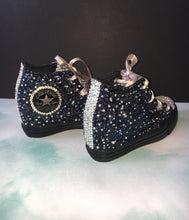 All Star Original High Top Black Converse Wedges With Montana Diamonds & Ribbon Laces