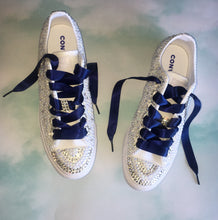 Mono Converse With Pearls & Diamonds & Navy Ribbon Laces