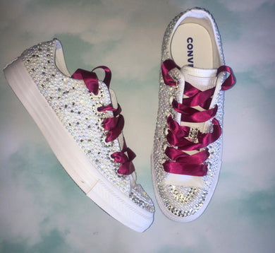 Mono Converse With Pearls & Diamonds & Burgundy Ribbon Laces