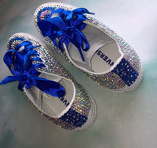 A Touch Of Blue Mono Converse With Sapphire Blue Diamonds & Blue Ribbon Laces