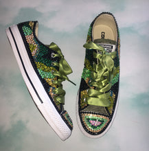 All Star Converse With Camo Army Design Diamonds & Olive Ribbon Laces
