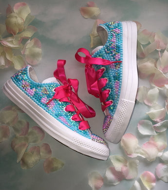 All Star Pastel Mix Converse With Pearls Diamonds & Hot Pink Ribbon Laces