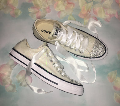 All Star Converse With Glitter Finish & Crystal Diamonds