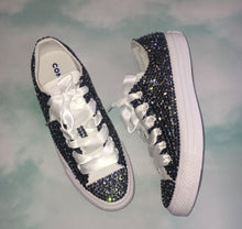 All Star Mono White Converse With Montana Navy Blue & Moonstone Kiss Diamonds With White Ribbon Laces