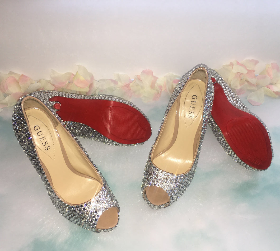 Crystal Diamond PeepToe Red Sole Heels