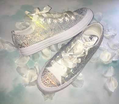 All Star Mono White Converse With Opal Swarovski Diamonds & Ivory Ribbon Laces