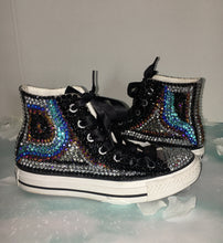 "Chuck Taylor High Top ""Jazzy"" Style Converse With Crystal Diamonds & Ribbon Laces"