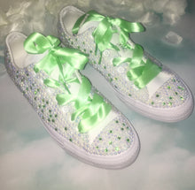 All Star Mono Converse With AB Pearls & Peridot Green Diamonds