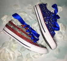 USA BABY!Chuck Taylor Converse With Crystal Diamonds & Blue Ribbon Laces