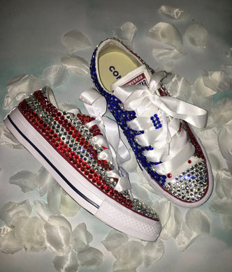 USA BABY!Chuck Taylor Converse With Crystal Diamonds & White Ribbon Laces