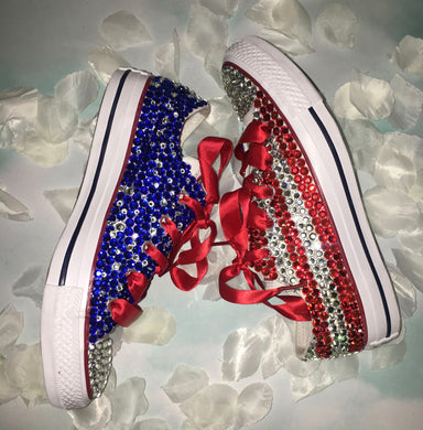 USA BABY!Chuck Taylor Converse With Crystal Diamonds & Red Ribbon Laces