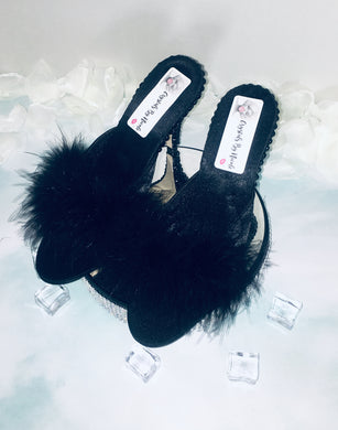 HollyWood Glam Black Feather & Swarovski Heels