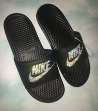 Bedazzled Swarovski Crystal Moonstone Nike Slides In Black