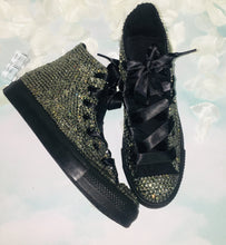 All Star Mono Black High Top Style Converse With Black Diamonds & Ribbon Laces