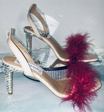 HollyWood Glam Burgundy Feather & Swarovski Crystal Heels