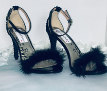 HollyWood Glam Black Feather & Jet Black Swarovski Crystal Heels