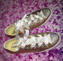 "Original Converse ""Money"" Luxury Champagne Gold Diamonds & White Ribbon Laces"