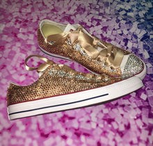Original Converse With Luxury Champagne Gold Diamonds & Gold Ribbon Laces