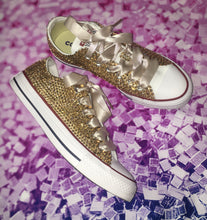 Original White Converse With Champagne Gold Diamonds With Mink Ribbon Laces